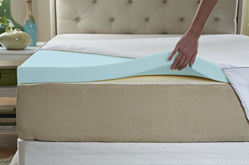 Natures Sleep Thick AirCool IQ King Size 3 Inch Thick 3.25lb Density Gel Memory Foam Mattress Topper with Microfiber Fitted Cover and 18 Inch Skirt