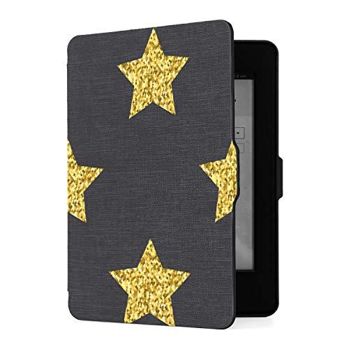 Funda para Kindle Paperwhite 1 2 3, Funda de Piel sintética Negra con Estrellas Doradas con Purpurina y función de Despertador automático Inteligente para Amazon Kindle Paperwhite (se Adapta a Las ve