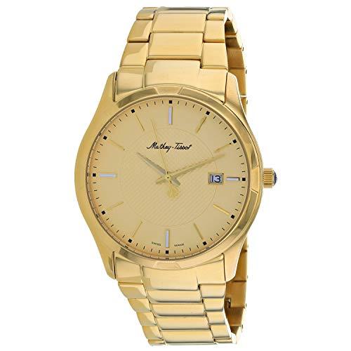 MATTHEY-TISSOT Correa de acero inoxidable de cuarzo para hombre, oro, 24 reloj casual (Modelo: H2111PDI)