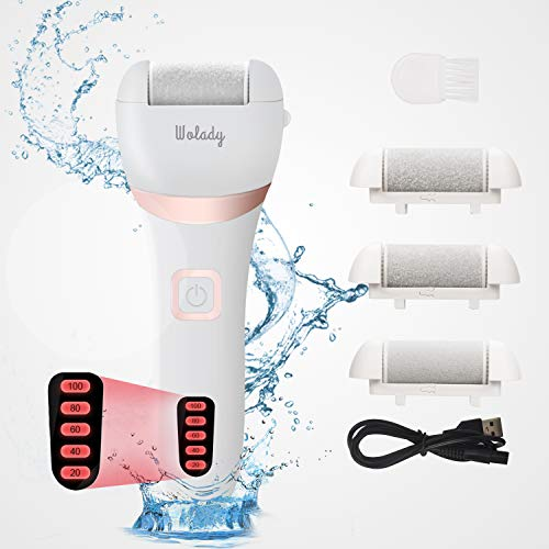 Electric Callus Remover for Feet Dry Cracked Dead Skin Wolady USB Rechargeable Electronic Foot File Pedicure Foot Tool Feet Care with 3 Roller Heads Pedicure Tools Foot File Callus Remover Set