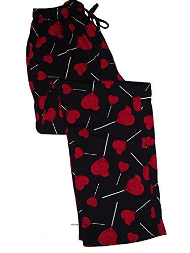 Accents Men's Sleepwear Lounge Sleep Pants Black Love Pop by Isaco (Small)