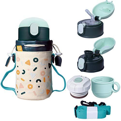 GOOM 水筒 子供 保冷保温 真空断熱 直飲み コップ 付 3WAYストローボトル マグボトル 魔法瓶 ポーチ付き GCC-2010VP-4M (520ml, 半島クッキー)
