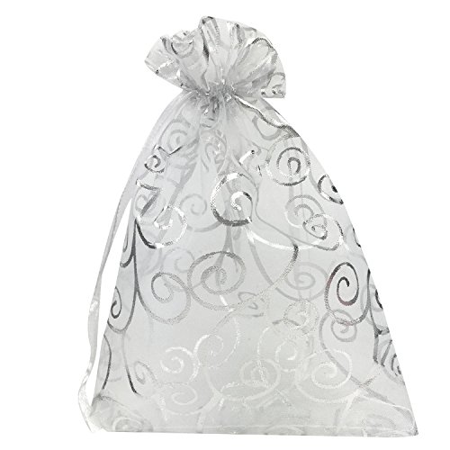 Organza Bags 100pcs 4x6 Inches Drawstrings Organza Gift Candy Bags Wedding Favors Bags (White with Silver)