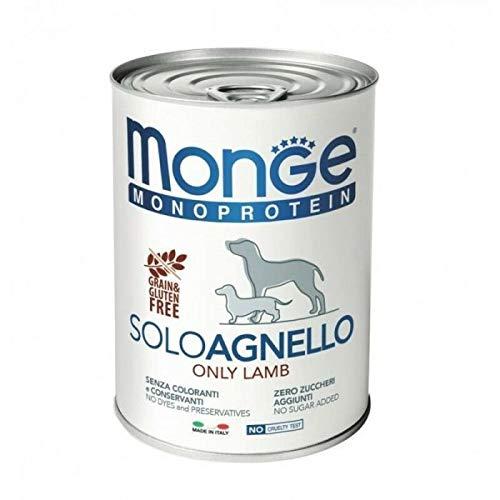 Monge Monoproteico Solo Agnello Alimento Umido per Cani 12 X 400gr
