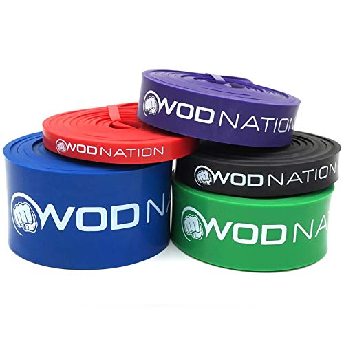 Pull up Assistance Band Set by WOD Nation - Best for Pullup Assist, Chin Ups, Resistance Band Exercise, Stretch, Mobility Work & Serious Fitness - Set of 41 inch Straps   5 Band Set