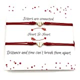 Sisters Bracelet Hearts Connected Adjustable Thread - Set of 2 Red String