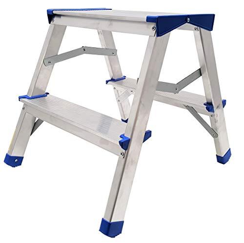 Alu Doppelstufenleiter - Aluminium Leiter - Trittleiter Bockleiter Haushaltsleiter Klappleiter Klapptrittleiter - TÜV geprüft, EN 131 - bis 150 Kg (2 Stufen - 40 cm)