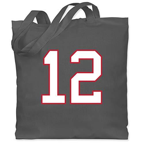 Shirtracer American Football Outfit Trikot - Football New England 12 - Unisize - Dunkelgrau - Ballsport - WM101 - Stoffbeutel aus Baumwolle Jutebeutel lange Henkel
