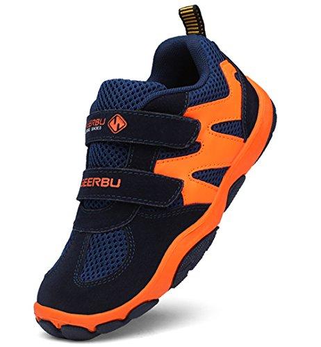 DADAWEN Kid's Breathable Outdoor Hiking Sneakers Strap Athletic Running Shoes Dark Blue/Orange US Size 5 M Big Kid