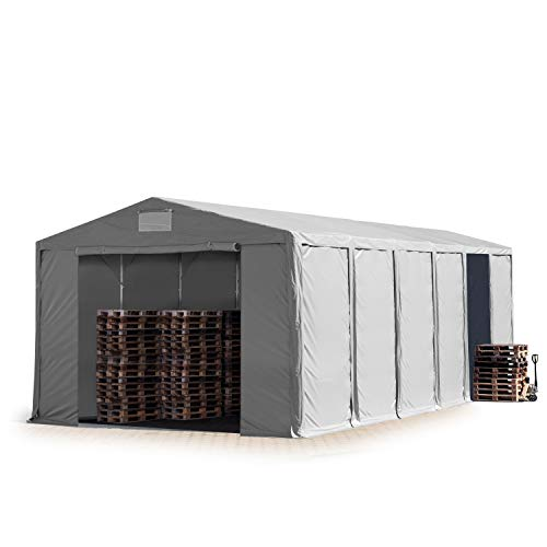 TOOLPORT Lagerzelt Industriezelt 8x12 m Zelthalle mit 3,6m Seitenhöhe in grau ca. 550g/m² PVC Plane 100{cc80cbbe31f4a6141b60624186f56cf3333bc7032f88c66d5ff7e0dd1ec67a82} Wasserdicht Ganzjahreszelt mit Reißverschlusstor