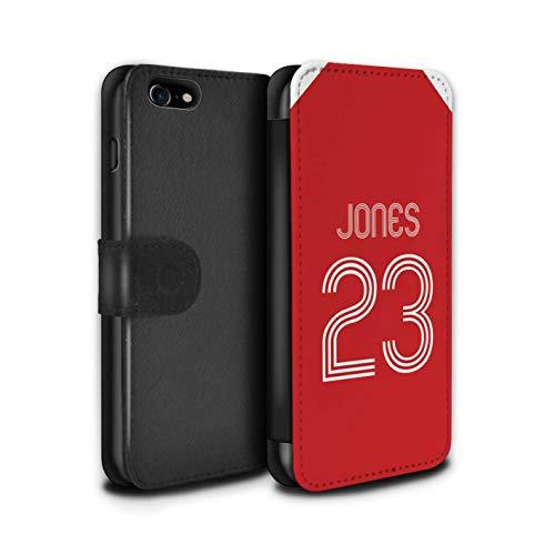 Stuff4 PU lederen hoesje/portemonnee/IP-PSW/Custom Football Club Shirt Kit Collectie Apple iPhone SE 2020 Rood Wit
