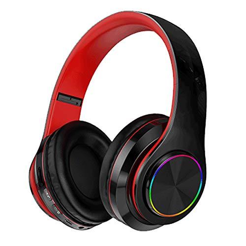 Bluetooth over-ear koptelefoon Opvouwbare headset Bluetooth-koptelefoon met LED-verlichting, opvouwbare mobiele telefoons, draadloze sport, universele kaart voor school/pc/mobiel -,Black red