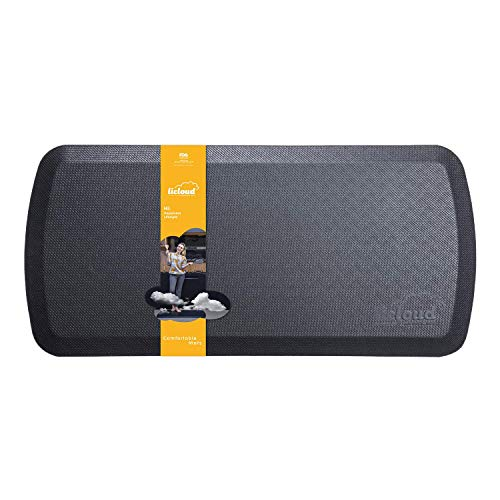 Anti Fatigue Comfort Floor Mat By Licloud -20'x39'x3/4' Professional Grade Quality Perfect for Standing Desks, Kitchens, and Laundry - Relieve Feet, Knees, and Back Pain(Black)