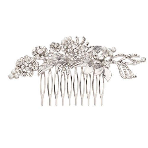 Lux Accessories Pave Floral Faux Pearl Crystal Leaf Bridal Hair Comb