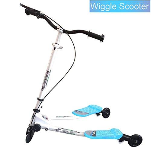 Lonlier Y Flicker Wackelschere, 3 Räder, Faltbarer Speeder Push Swing Scooter Tri Slider für Kinder im Alter von 3–6 Jahren, 4930-Blue, L 85 x W 53 x H(63-80) cm