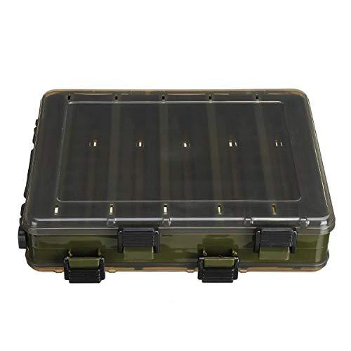 N\A Pesca Kit de Accesorios Atraer a los Peces Caja de Doble Cara Caso plástico Cebo de Pesca de los trastos Caja de Almacenamiento 10/14 cuadrícula (Color : Green, Size : L)