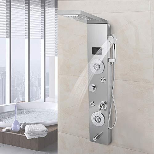 Panel de columna LED de ducha de hidromasaje de acero inoxidable 115 x 50 x 20 cm | Cabeza de lluvia y cabeza en cascada | 4 boquillas para masaje | Pulverizador manual | Boquilla para bañera