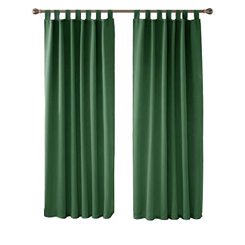 Deconovo Cortinas Dormitorio Moderno Blackout Curtain Suave para Ventanas de Habitación Infantil con Trabillas 2 Piezas 140 x 220 cm Verde Oscuro