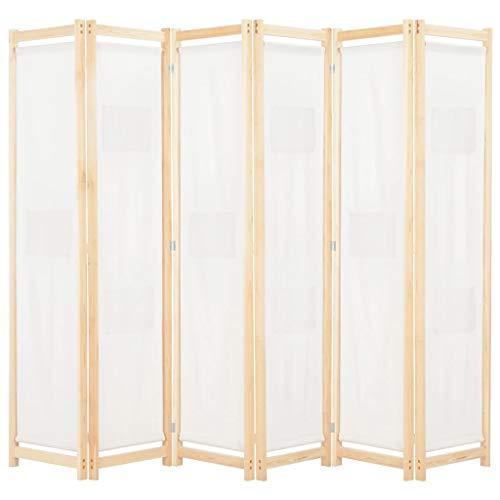 Festnight Biombo Divisor Plegable 6 Paneles de Tela Separador de Ambientes Plegable, Divisor de Habitaciones, Crema 240x170x4 cm