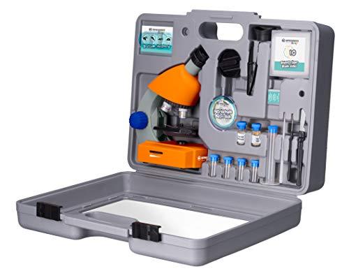 Bresser Junior Mikroskop 40x-640x mit LED-Durchlichtbeleuchtung, Zoom-Monokular, Batteriebetrieb und umfangreichen Zubehörpaket für Kinder inklusive Transportkoffer