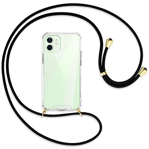 mtb more energy® Handykette kompatibel mit iPhone 12, 12 Pro (6.1\'\') - schwarz/Gold - Smartphone Hülle zum Umhängen - Anti Shock Strong Strong TPU Case