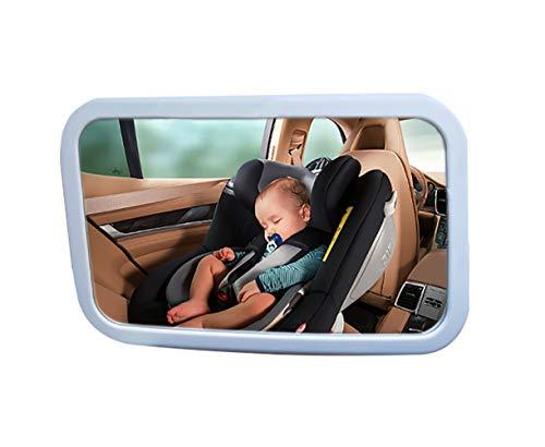 Baby Autospiegel 360 °Drehbar Bruchsicher - Rücksitzspiegel für Babys Babyschalenspiegel Drehbar Doppelriemen (Weiß)