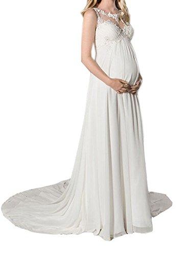NUOJIA EmpireTaille Lange Chiffon Mutterschaft Brautkleider zum Schwanger Frau Hochzeitskleid mit Appliques Weiß 40