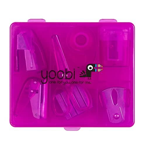 Yoobi Flat Mini Supply Kit   Includes Pencil Sharpener, Scissors, Stapler, Staple Remover, Staples, Tape Dispenser, Hole Puncher and Case   Pink