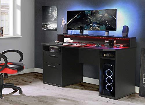 lifestyle4living Gamer-Schreibtisch in Schwarz, 160 x 72 cm | Computerschreibtisch mit Monitoraufsatz, Regal-Fächern, Schubkasten und Tür