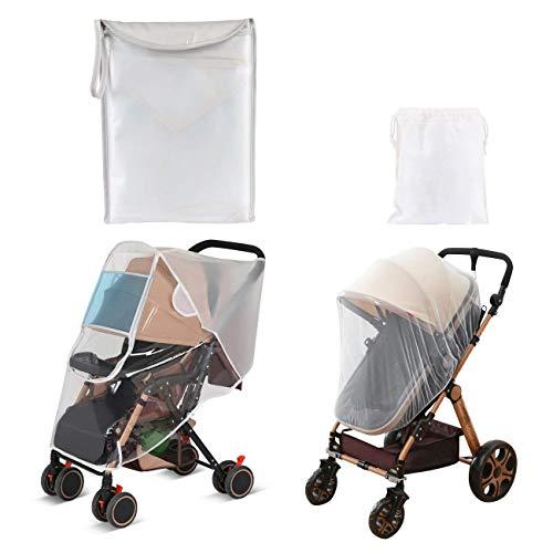 LEMESO 2er Set Universal Regenschutz für Buggy, Kinderwagen, Sportwagen und Mückennetz Insektenschutz