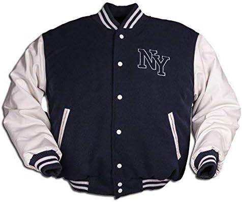 Mens Vintage NY Baseball Fleece Jacket with PU Leather Sleeves