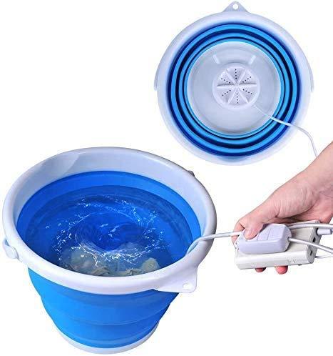 Bañera plegable mejorada, lavadora portátil, turbina ultrasónica, lavandería USB práctica para apartamentos de camping, dormitorios, viajes de negocios (azul)