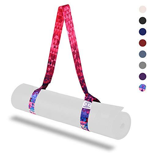 Yogaer Yogamatten-Tragegurt, verstellbare dicke Riemen, Schlinge zum Tragen großer Matten, Stretch-Band, Bonus-Set mit Fix-Halter-Band (Yogamatte nicht im Lieferumfang enthalten), Buntes Rot.