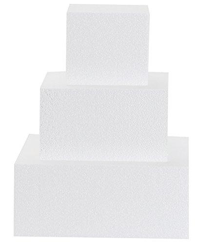 Sebutec Styropor Tortendummy quadratisch in 3 versch. Größen (klein (19-14-9cm))