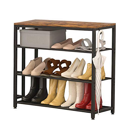 SUAYLLA Industrial Adjustable Shoe Rack 4-Tier Shoe Shelf Organizer with Hooks Holds 12-15 Pairs of Shoes Durable and Stable Shoe Rack for Entryway Hallway Closet Dorm Room
