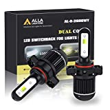 ALLA Lighting PSX24W 2504 Switchback LED Fog Lights Bulbs Super Bright 5200 Lumens Replacement 12276, Dual Color 6000K Xenon White/3000K Amber Yellow