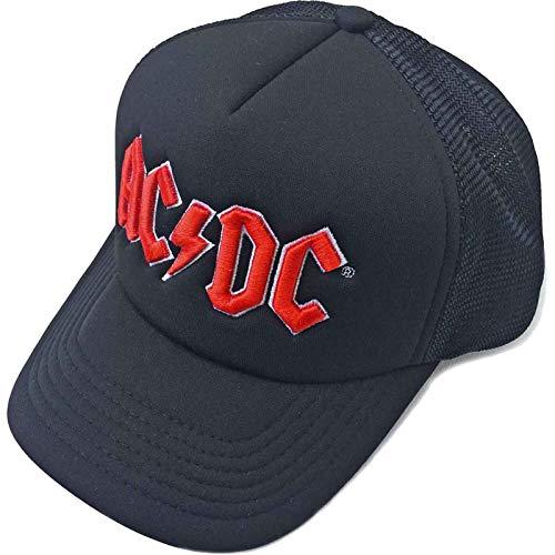 AC/DC Baseball Cap Classic Rot Band Logo Nue offiziell Schwarz Mesh Trucker