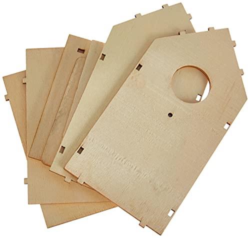 Rayher 62224000 Bauset Vogelhaus, Holz, FSC zertifiziert, 11 x 10,5 x 17 cm, 7teilig, Deko-Objekt, Dekoartikel, Deko-Vogelnistkasten