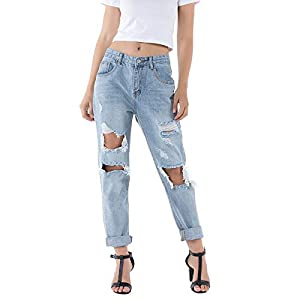 Wome's Ripped Jeans Distressed Boyfriend Jeans Straight Leg Light Wash Jeans with Holes