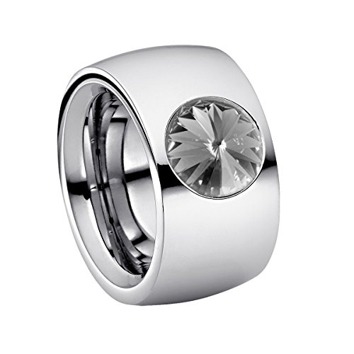 Heideman Ring Damen Coma 14 aus Edelstahl Silber farbend poliert Damenring für Frauen mit Swarovski Stein Kristall Black Diamond grau im Fantasie Edelsteinschliff 10mm