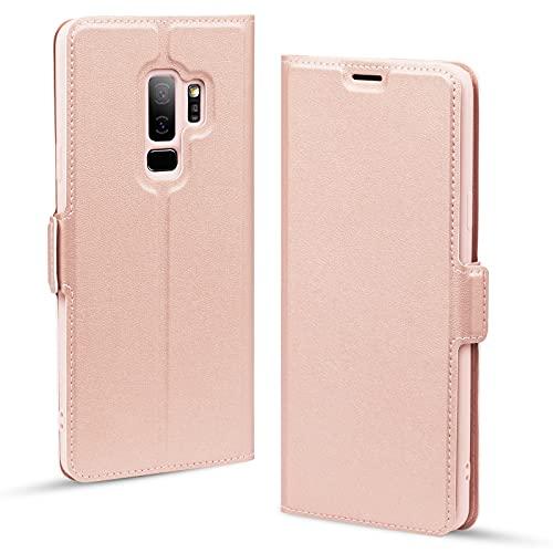 Cover Samsung Galaxy S9 Plus, Custodia Galaxy S9 Plus, Cover Libro Samsung S9 Plus, Custodie per Sansung S9 Plus Cellulari - Portafoglio Folio con Funzione Supporto e Chiusura Magnetica-Oro Rosa