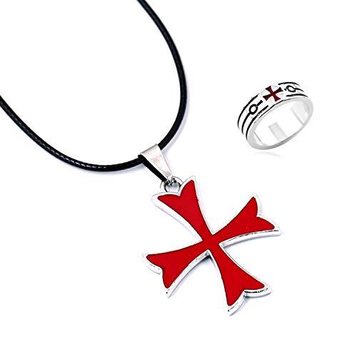 YouU 2 Piezas Masonic Knights Templar Crusader Cruz Roja Colgante y Anillo de Acero Inoxidable para Hombres