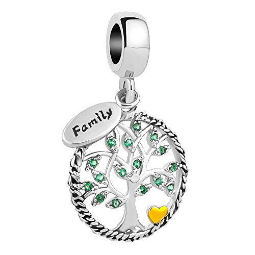 UNIQUEEN Family Tree of Life Dangle Charms fit Pandora Charm Bracelet & Necklace