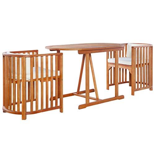 Tidyard 3-tlg. Bistro-Set Essgruppe Sessel Mit Auflagen,Holzmöbel-Set Balkonset aus massivem Eukalyptusholz,Gartenartikel Garten-Bistroset Mit 1 ovalen Tisch, 2 Stühle und 4 Kissen,Braun und Cremeweiß