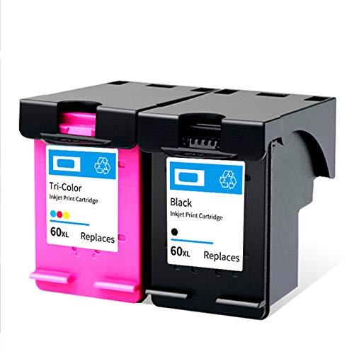 SXCD Cartucho de tinta 60XL, repuesto para impresoras HP DeskJet F4280 F2410 F4480 PhotoSmart C4780 ENVY 100 110 compatible con negro y tricolor negro y color
