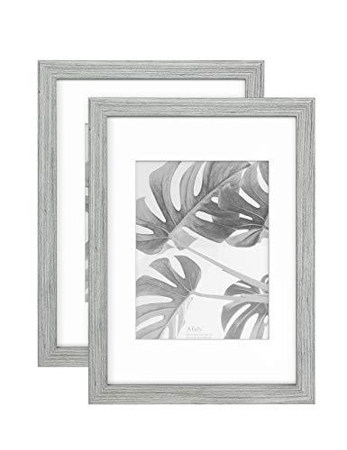 Afuly A4 Bilderrahmen 15x20 Grau Holz Vintage Rustikal Shabby chic Wand oder Schreibtisch Homedeco Grain mit Passepartout,2er Set