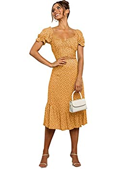 LYANER Women s 2 Piece Outfits Floral Self Tie Knot Crop Top and Midi Skirt Set Yellow Medium