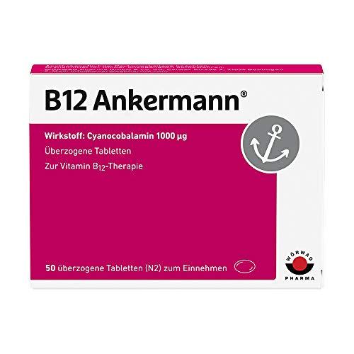 Hochdosiertes Vitamin B12 mit 1.000 µg. B12 Ankermann® Tabletten. Bei Müdigkeit und Erschöpfung durch Vitamin B12-Mangel, 1x täglich, 50 St. Glutenfrei