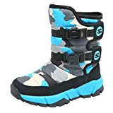 Teens Child Kids Boys Girls Winter Warm Snow Boots Waterproof Non-Slip Comouflage Mid-Tube Cotton Boots (Sky Blue, Age:11.5-12Years)
