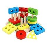 Zayaa Montessori, Tablero de clasificación geométrico de Madera Colorido, apilamiento, Rompecabezas de construcción, Juguetes para niños, Herramienta de educación temprana, Regalo